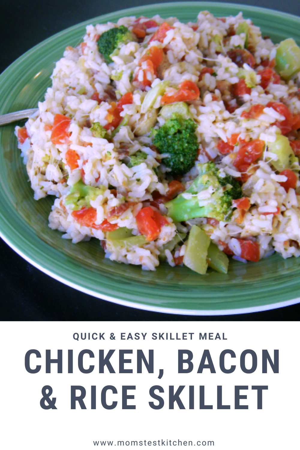 If you like quick and easy recipes, you will LOVE this Chicken Rice Skillet Meal packed with the delicious extras of Broccoli and Bacon!