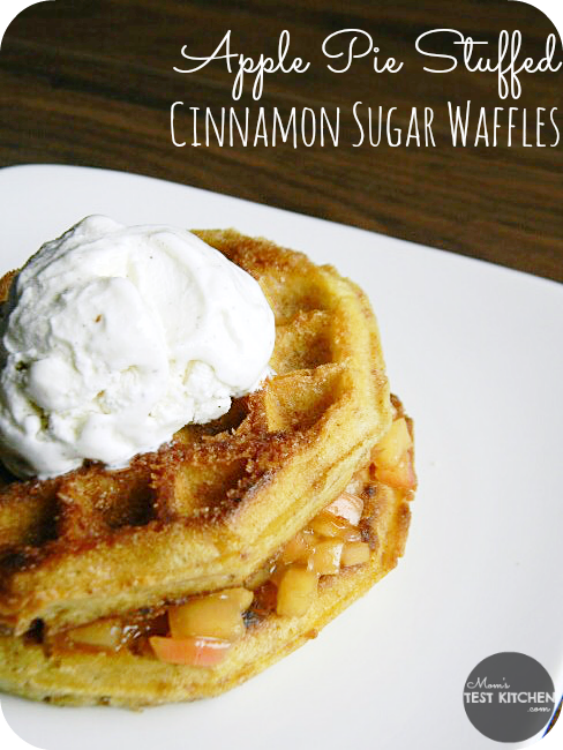 Apple Pie Stuffed Cinnamon Sugar Waffles | MomsTestKitchen.com | #WaffleWednesdays