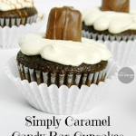Simply Caramel Candy Bar Cupcakes with Caramel Cream Cheese Frosting | www.momstestkitchen.com | #semihomemade