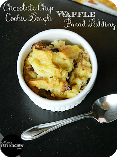 Chocolate Chip Cookie Dough Waffle Bread Pudding | www.momstestkitchen.com | #WaffleWednesdays