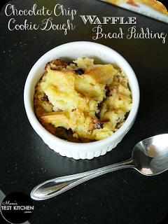 Chocolate Chip Cookie Dough Waffle Bread Pudding | www.momstestkitchen.com | #WaffleWednesdays