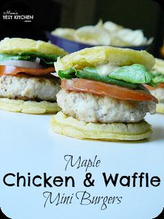Maple Chicken & Waffle Mini Burgers   www.momstestkitchen.com   #WaffleWednesdays