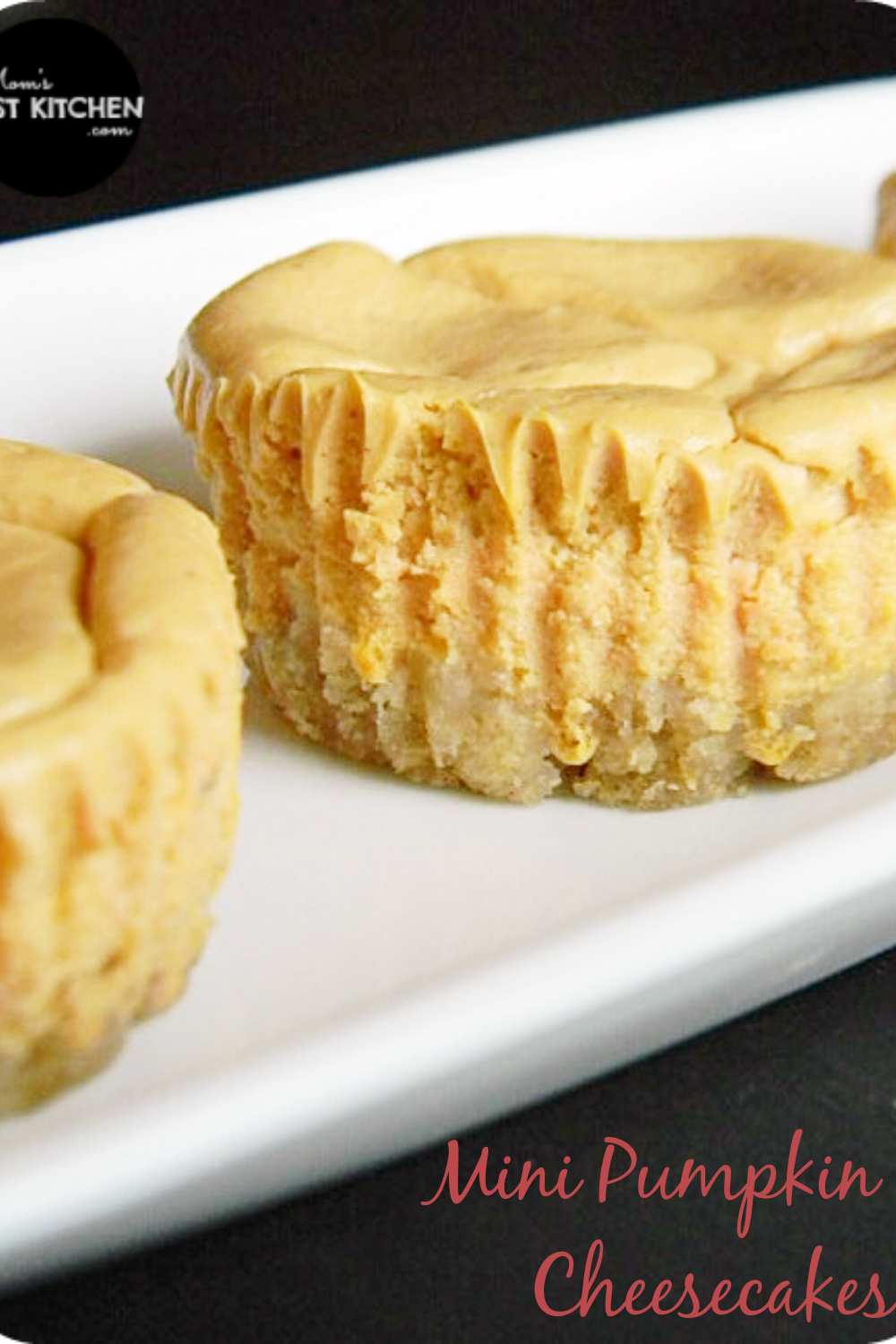 This easy Mini Pumpkin Cheesecake recipe makes a smooth and creamy cheesecake full of Fall flavors, all put on top of an easy crust made from frozen waffles! It makes for the perfect holiday dessert!