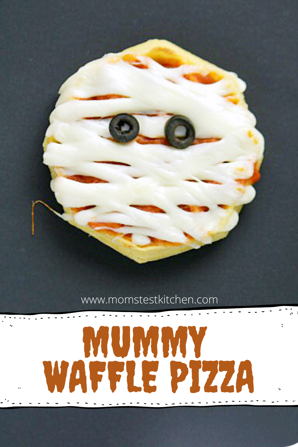 Mummy Waffle Pizzas make a great after school snack or even an easy supper for the kids before you head out trick-or-treating!