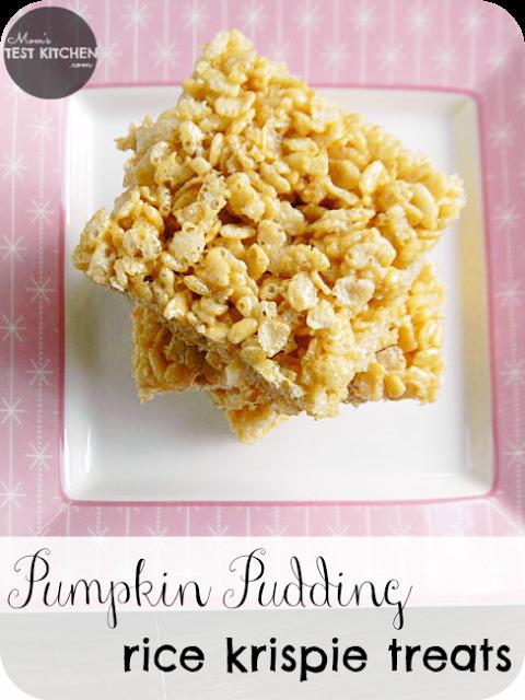 Pumpkin Pudding Rice Krispie Treats | www.momstestkitchen.com