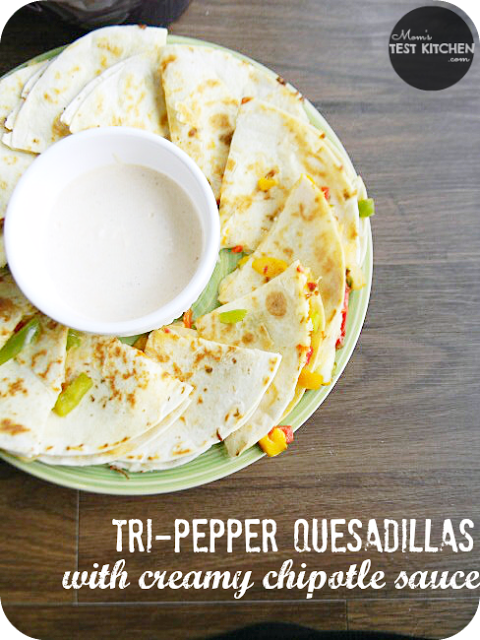 Tri-Pepper Quesadillas with Creamy Chipotle Sauce | www.momstestkitchen.com | #PepperParty