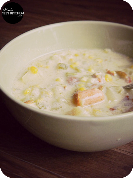 Potato, Corn & Bacon Chowder | www.momstestkitchen.com | #semihomemade
