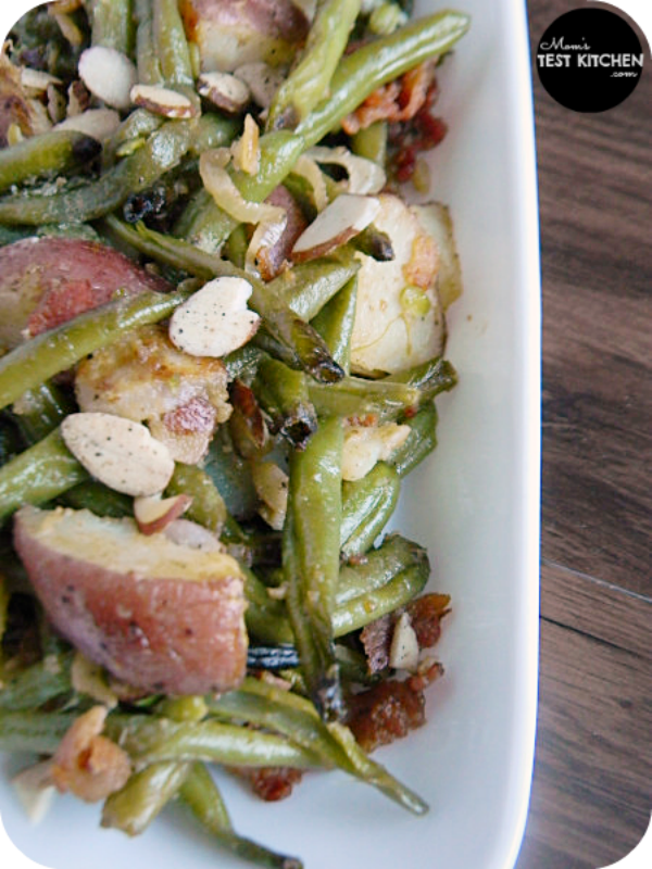 Roasted Green Beans & Potatoes with Bacon Vinaigrette #STAROliveOil #shop