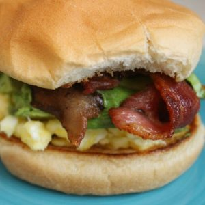 Avocado, Bacon & Brie Breakfast Sandwich FEAT