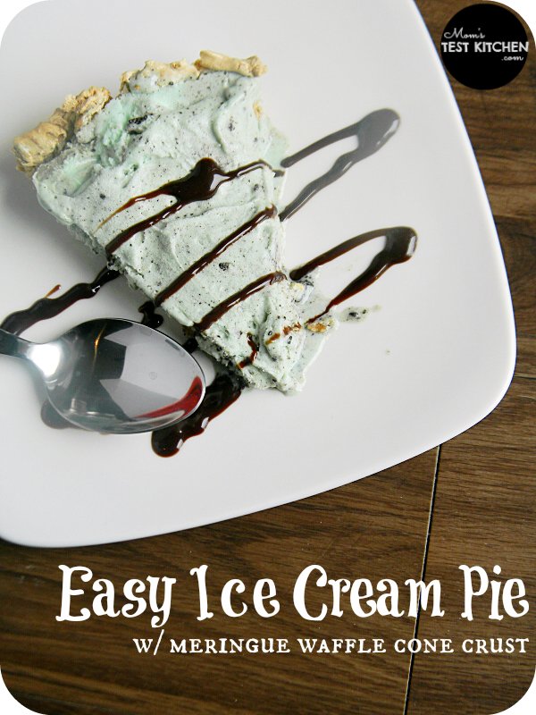 Easy Ice Cream Pie with Meringue Waffle Cone Crust | www.momstestkitchen.com | #SlowChurnedSmiles #ad