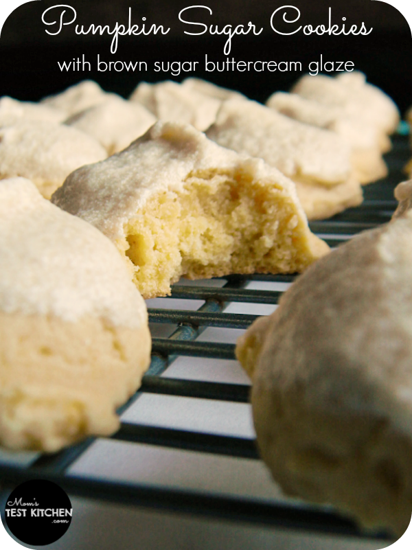 Pumpkin Sugar Cookies with Brown Sugar Buttercream Glaze | www.momstestkitchen.com | #CartonSmart #ad