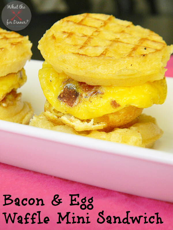 Bacon & Egg Waffle Mini Sandwiches | www.momstestkitchen.com