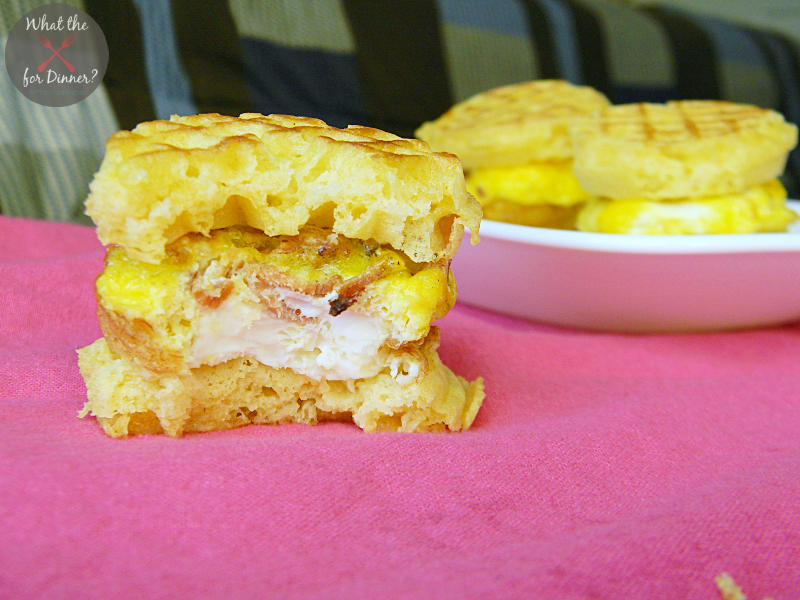 Bacon & Egg Waffle Mini Sandwiches | www.momstestkitchen.com