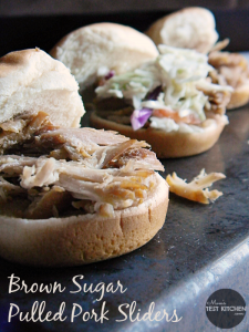 Brown Sugar Pulled Pork Sliders | www.momstestkitchen.com | #FrugalFixins