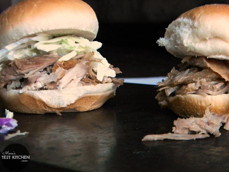Brown Sugar Pulled Pork Sliders | momstestkitchen.com | #FrugalFixins