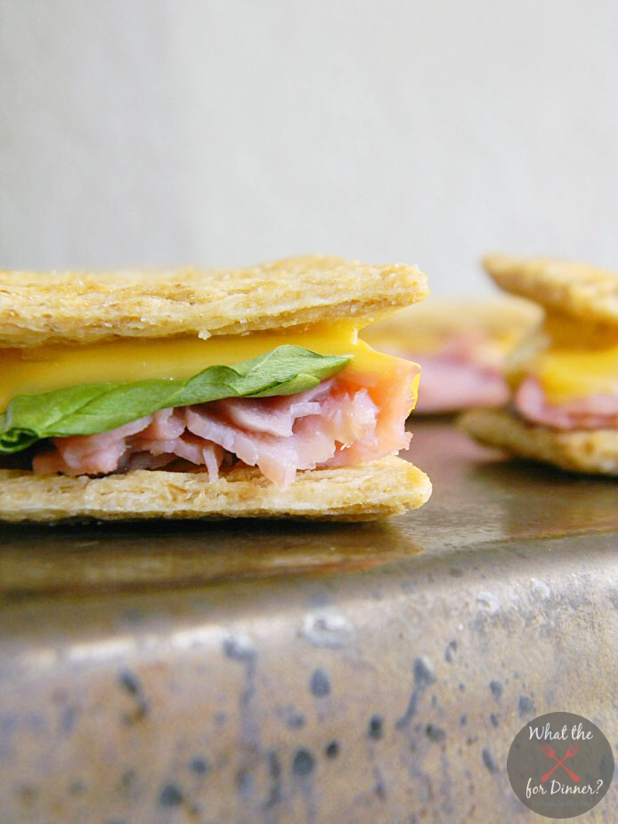 Ham & Cheese Mini Cracker Sandwiches | www.momstestkitchen.com | #AppetizerWeek