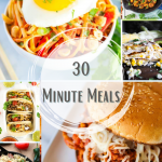 Thirty Minute Meals Roundup Pin Image - 6 photos of different 30 minute meals