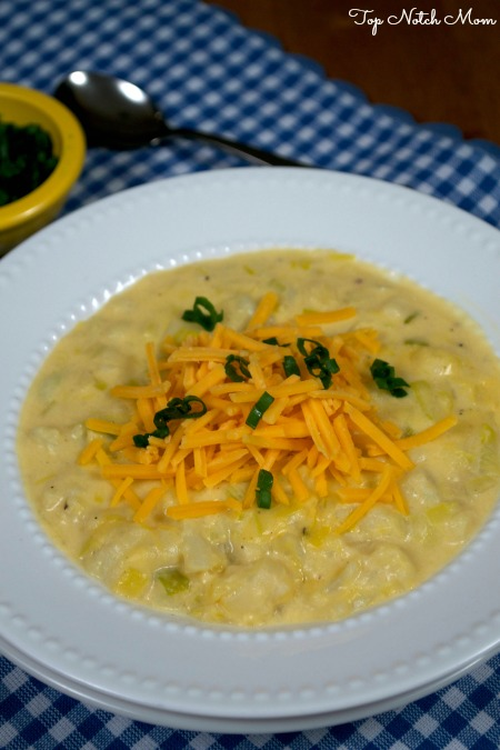 White bowl filled with cheesy cauliflower soup topped with cheddar cheese and green onions. Sitting on top of a blue and white checkered placemat with a spoon in the background