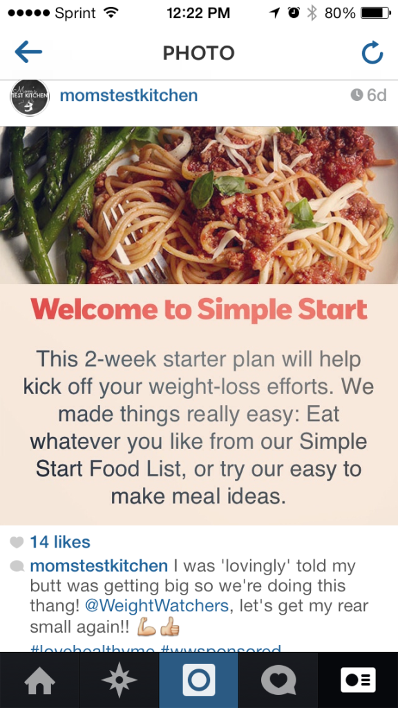 Instagram #lovehealthyme #wwsponsored
