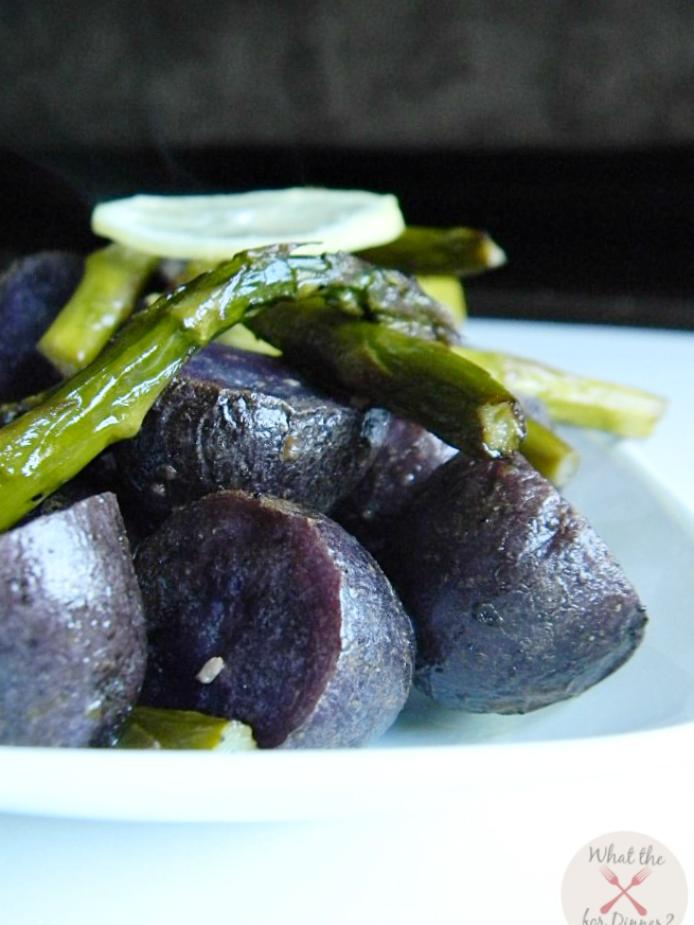 Roasted Asparagus & Potatoes tossed in fresh lemon juice
