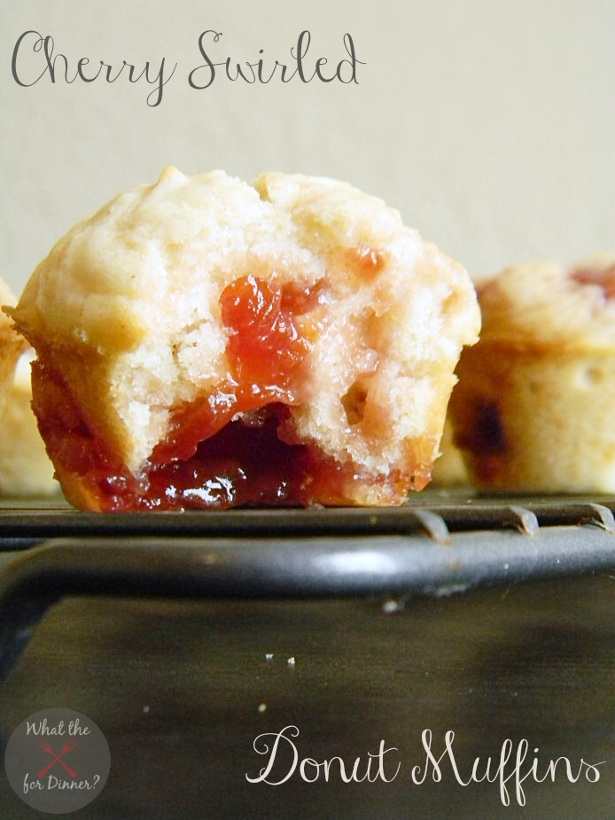 Cherry Swirled Donut Muffins   www.momstestkitchen.com