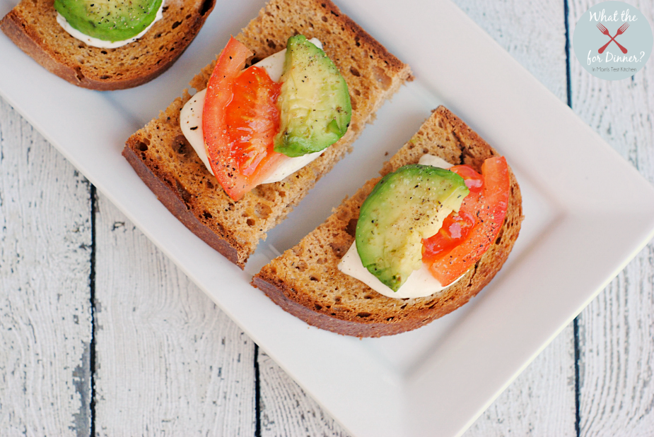 Tomato Avocado Bruschetta | MomsTestKitchen.com