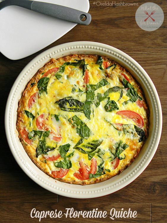 Serving Dish of Caprese Florentine Quiche with a white plate and spatula