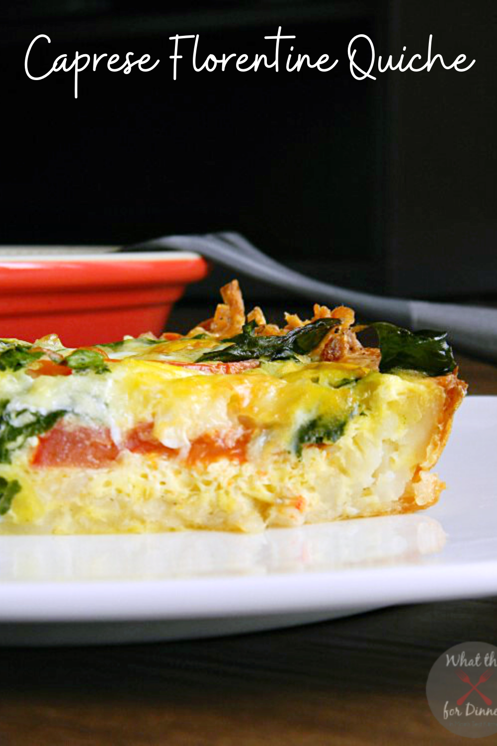 Be the star of the show at brunch when you serve this delicious quiche packed with fresh spinach and tomatoes on top of a shredded hash brown potato crust!
