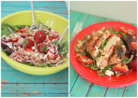 Strawberry Feta Salad with Balsamic-Basil Grilled chicken