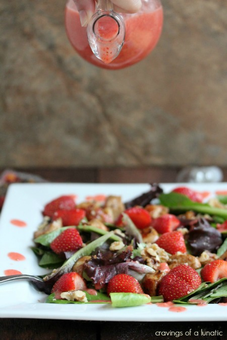 Chicken & Strawberry Salad with Strawberry Dressing & Walnuts