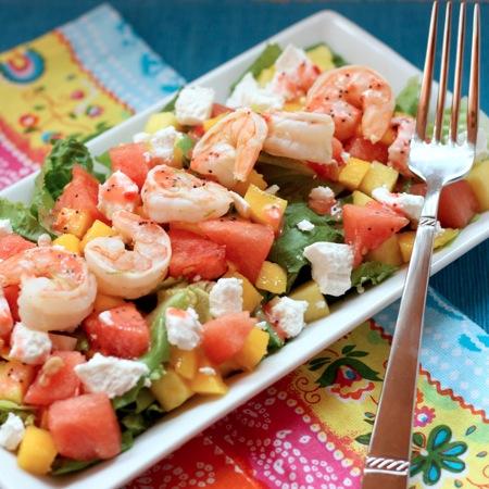 Fruity Summer Shrimp Salad with Strawberry Lime Poppyseed Vinaigrette
