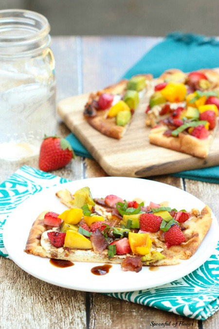 Summer Flatbread with Strawberries, Mango, Avocado, Bacon & Goat Cheese