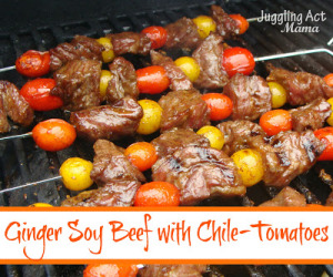 Ginger Soy Beef with Chile Tomatoes from Juggling Act Mama