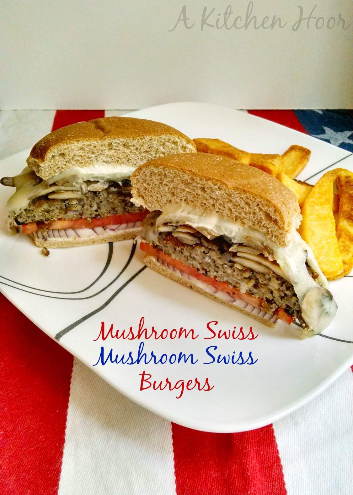 These #MemorialDay #MeatlessMonday Mushroom Swiss Mushroom Swiss Burgers have tasty mushrooms and Swiss cheese twice in this #meatless burger recipe.