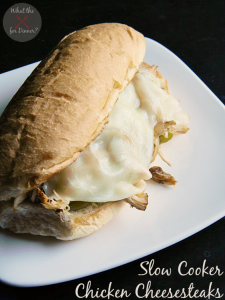 Slow Cooker Chicken Cheesesteaks | MomsTestKitchen.com | #SlowCookingSummer