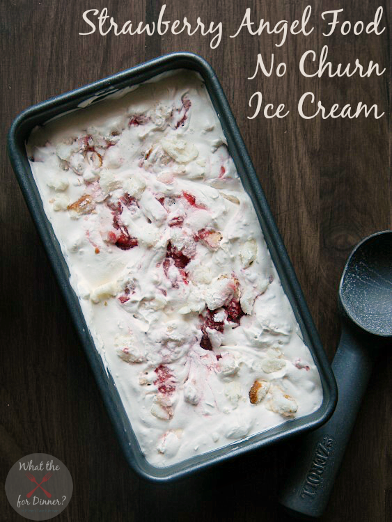 Strawberry Angel Food No Churn Ice Cream | MomsTestKitchen.com