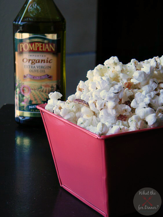 Cheesy Bacon Ranch Popcorn | MomsTestKitchen.com | #PledgeforEVOO #ad