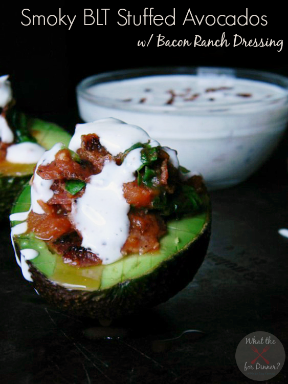 Smoky BLT Stuffed Avocados with Bacon Ranch Dressing