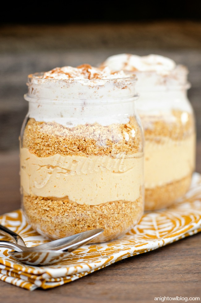 Easy No Bake Pumpkin Cheesecakes