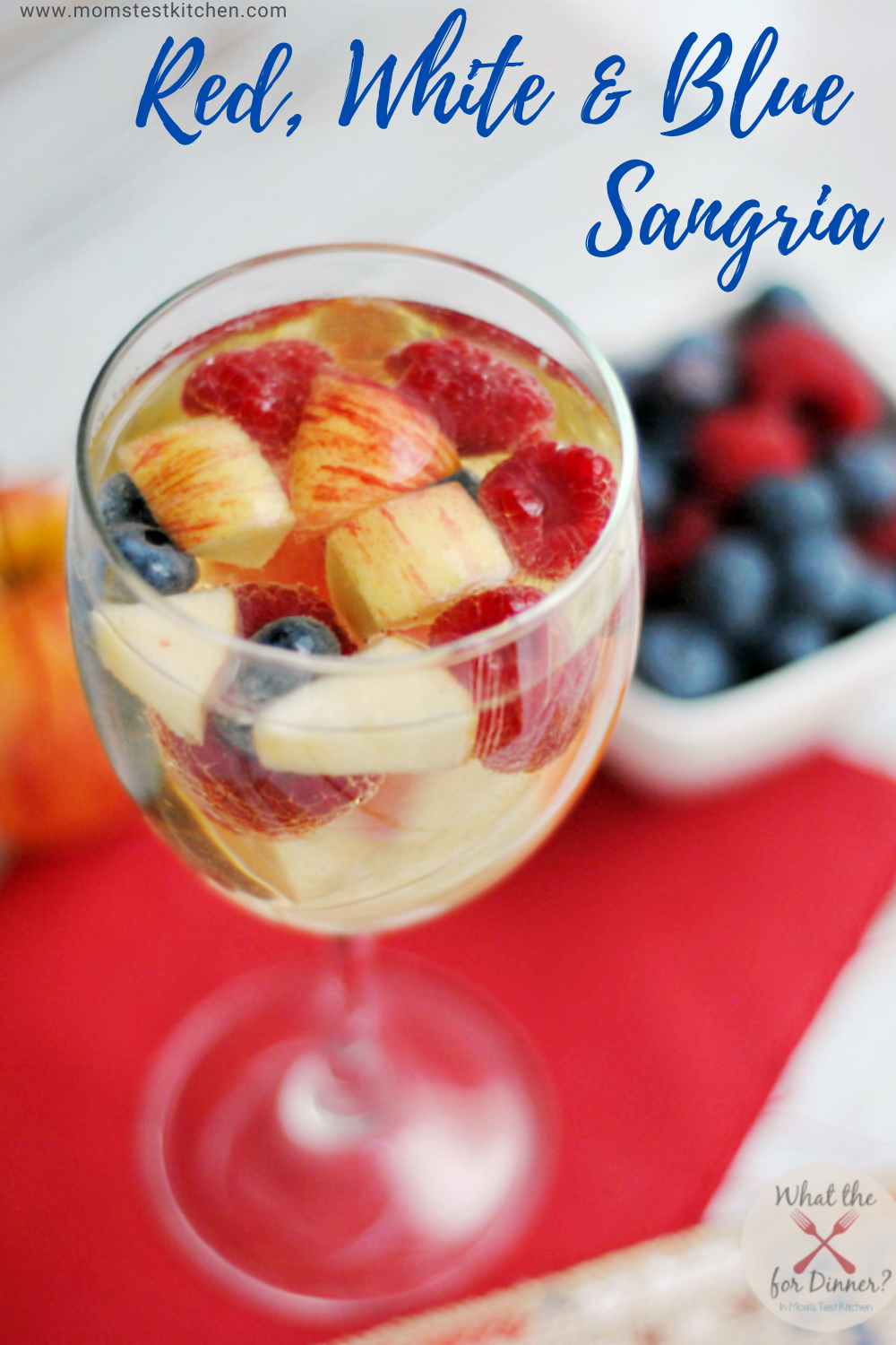 Simple to make and requiring only two ingredients, this Red, White & Blue Sangria is a perfect addition to your 4th of July menu!