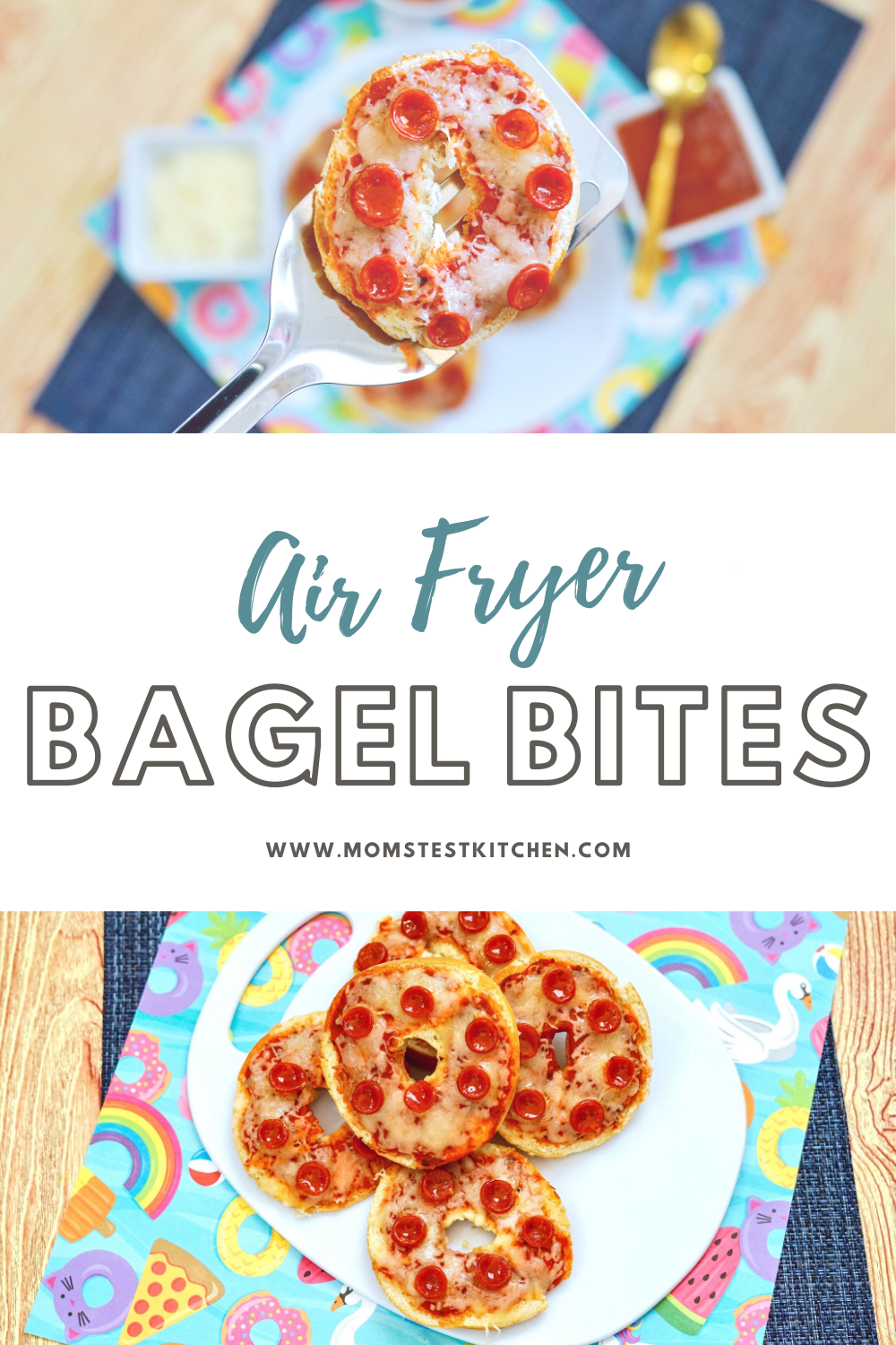 The kids are going to love these Homemade 4-ingredient Air Fryer Bagel Bites! Since they take only 5 minutes to cook, they are the perfect solution for an easy lunch or afternoon snack!