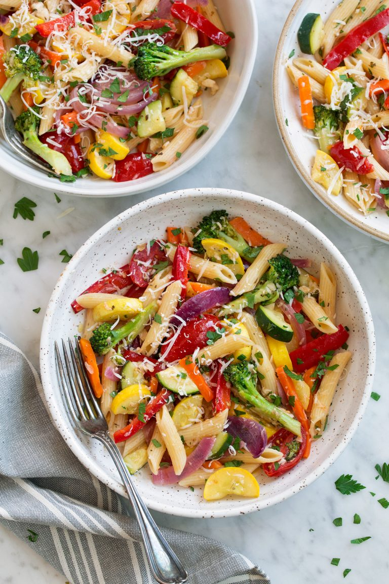 Mom's Menu Plan - Pasta Primavera - Penne pasta with onions, peppers, broccoli, squash and more vegetables