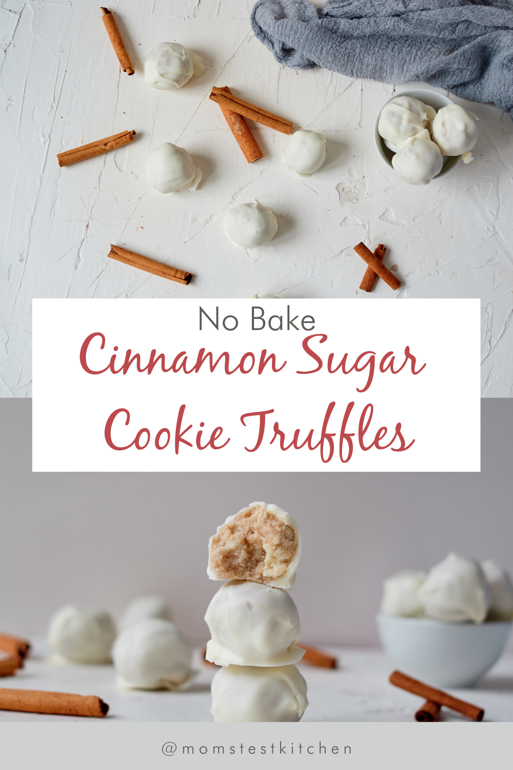 No Bake Cinnamon Sugar Cookie Truffles are the perfect treat! With minimal ingredients, this easy treat is a perfect option for your Christmas Cookie Exchange, or as a simple gift for friends and neighbors.