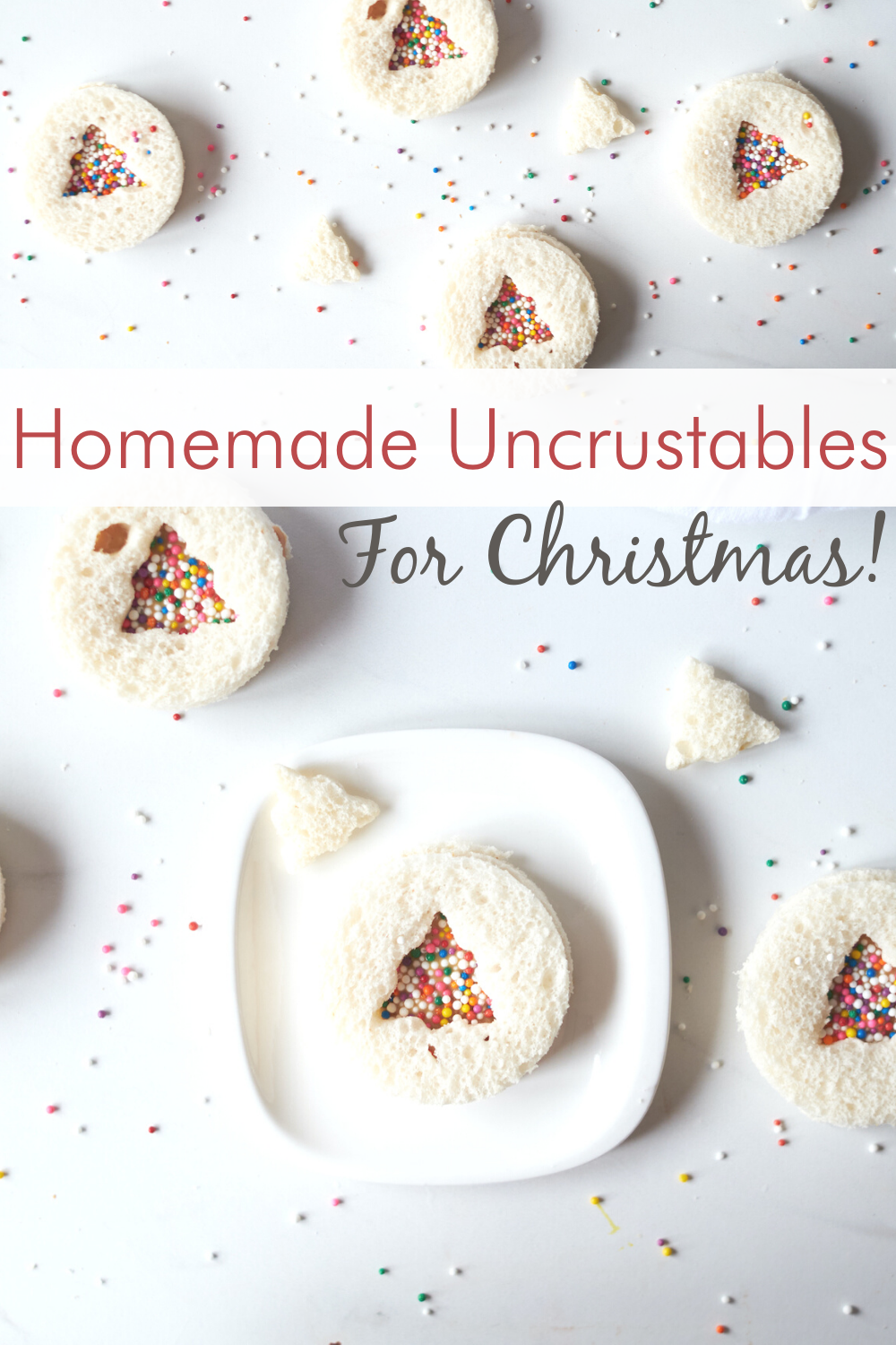 Skip the freezer aisle and make your own homemade version of uncrustables! The kids are going to love this festive Christmas spin on a lunchbox favorite!