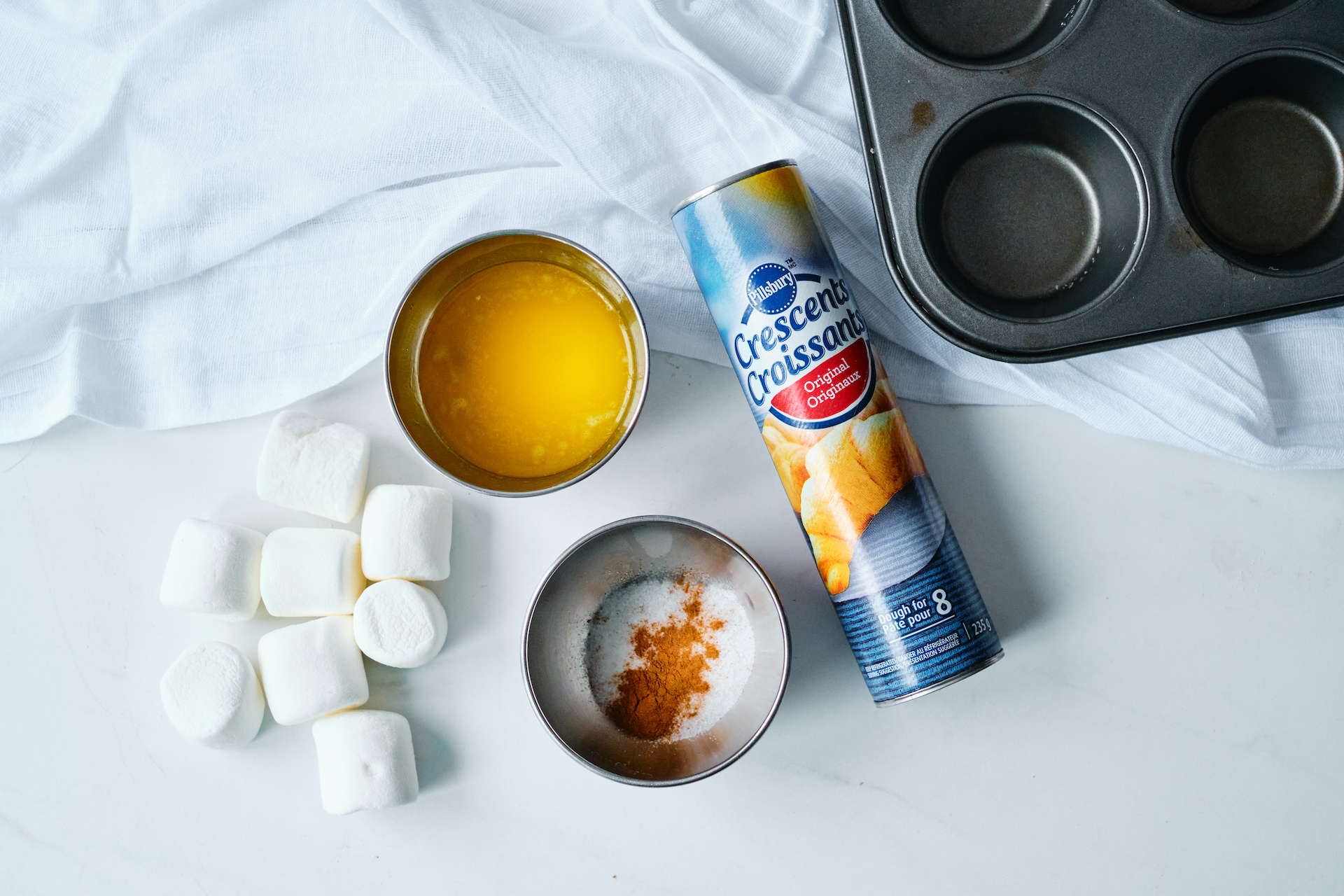 ingredients needed for recipe sitting on a white counter