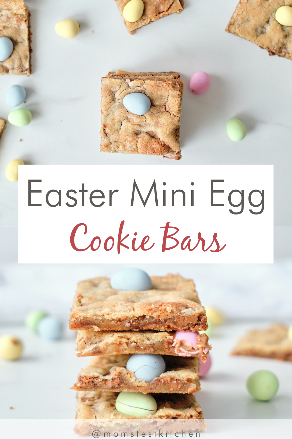 Fun and festive, these Easter Mini Egg Cookie Bars are about to become your new favorite Spring dessert! These easy sugar cookie bars packed with chocolate chips, caramel eggs, and mini eggs are perfect for your Easter family gathering.